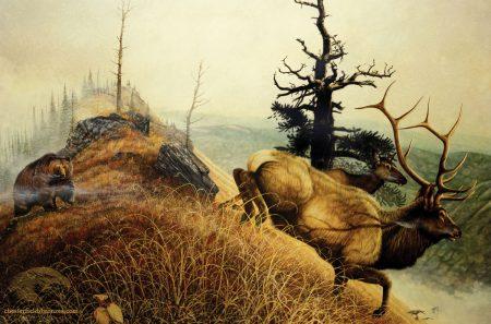 Close-Encounter-Bull-Elk-Bear-Wildlife-Art-Painting-Chester-Fields