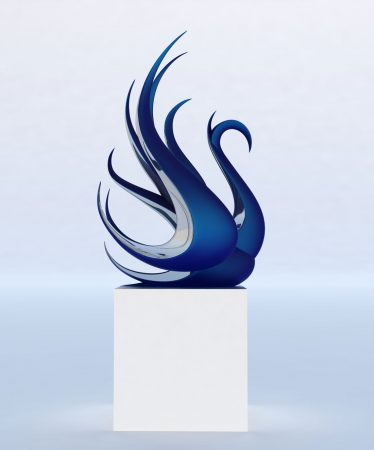 Contemporary-Swan-Statue-Bronze-Steel