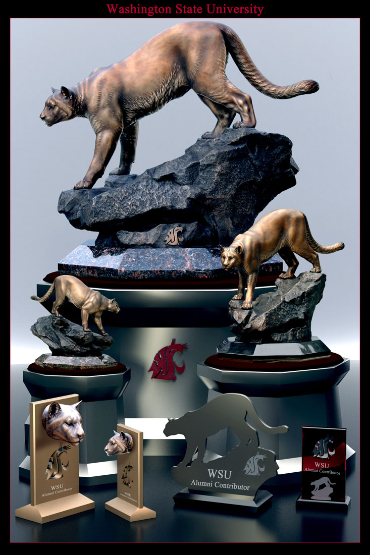 Washington State University Cougar Mascot Sculptures