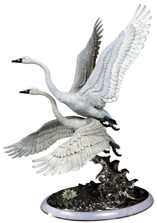 Elegance-Swan-Bronze-Sculpture-white