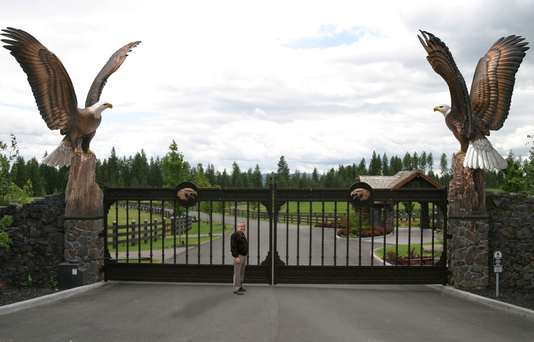 Beautiful Entry Gate #4: Enduring Spirit Eagle Monument Estate Gate Entry