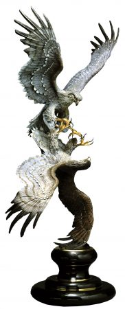 Falcon-Courtship-Bronze-Falcon-Sculpture