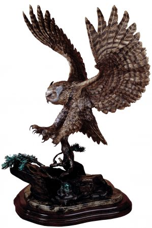 Horned-Owl-Bronze-Owl-Sculpture