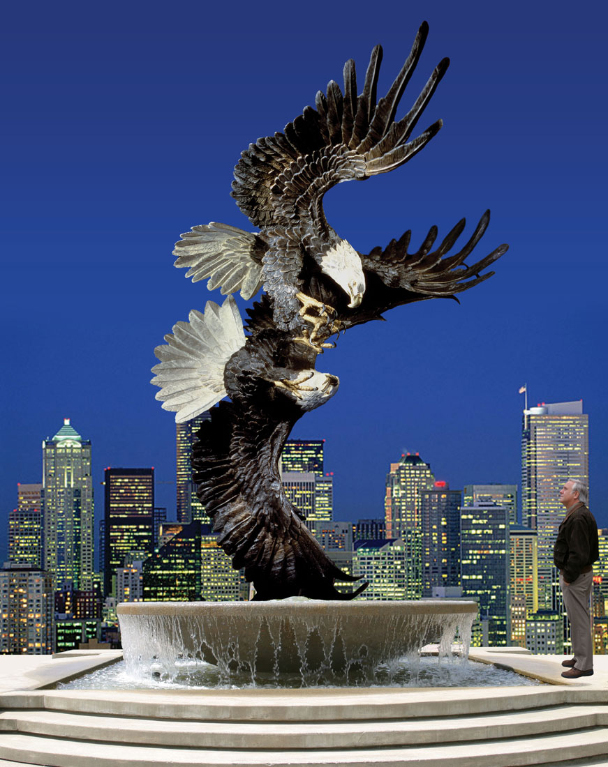 Majestic Courtship Eagle Fountain Monument
